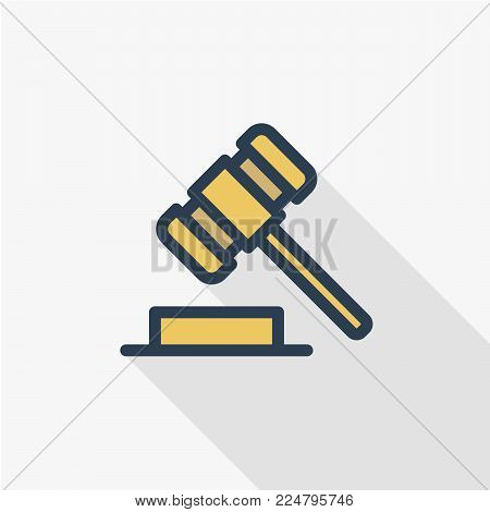 auction hammer, law and justice symbol, verdict thin line flat color icon. Linear vector illustration. Pictogram isolated on white background. Colorful long shadow design.