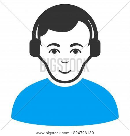 Radioman vector pictogram. Flat bicolor pictogram designed with blue and gray. Person face has enjoy mood.