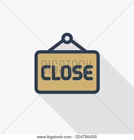Close sign icon. Vector closed door sign. Closed icon vector isolated on white background. Close sign line icon for websites, mobile apps, and info graphic. Flat line vector illustration