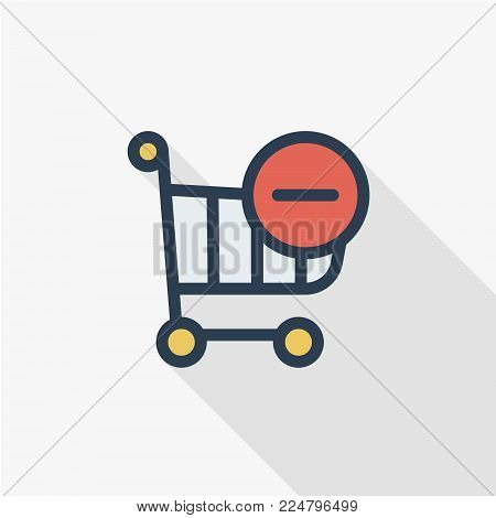 shopping cart and minus sign thin line flat color icon. Linear vector illustration. Pictogram isolated on white background. Colorful long shadow design.