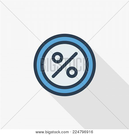 Percent sign, Percentage. Shop discoun thin line flat color icon. Linear vector illustration. Pictogram isolated on white background. Colorful long shadow design.