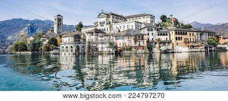 View Of The Island Of San Giulio On Lake Orta,piedmont,italy
