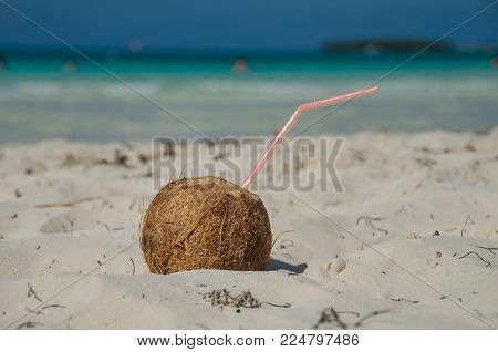 Coconut drink with straw on the sandy beach on the island Cayo Coco in Cuba. Beautiful blue sea and sky in the background.
