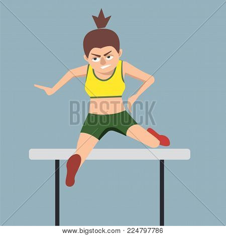 woman hurdler jumping over an obstacle - funny vector cartoon illustration in flat style
