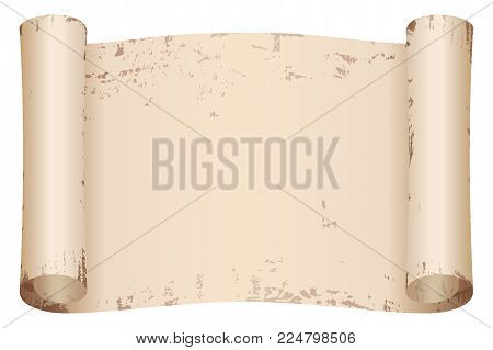 Ancient papyrus. Old beige paper with the aging effect isolated on white background.