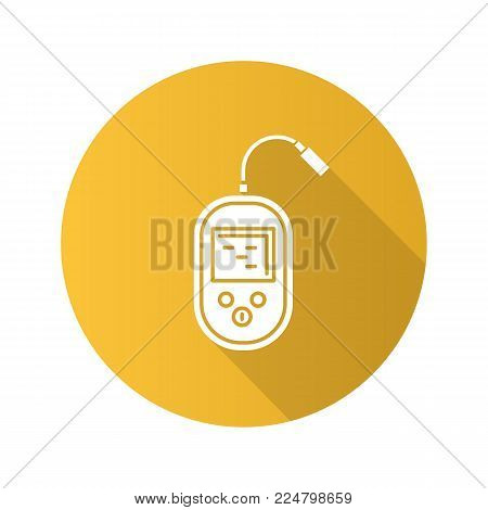 Fish finder flat design long shadow glyph icon. Echo sounder. Depth finder. Fish searching. Vector silhouette illustration