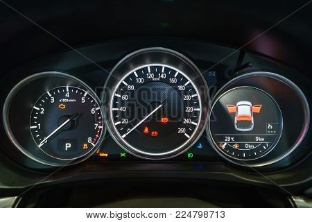 Modern Light Car Mileage (dashboard, Milage) Isolated On A Black Background. New Display Of A Modern