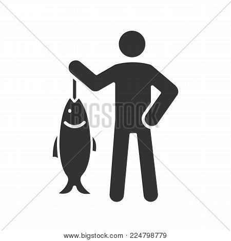 Fisherman glyph icon. Fish catch. Silhouette symbol. Negative space. Vector isolated illustration