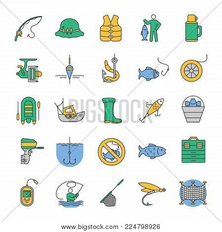Fishing color icons set. Angling equipment. Fish, bait, hook, tackle, boat, rod, fisherman, thermos, echo sounder, uniform. Isolated vector illustrations