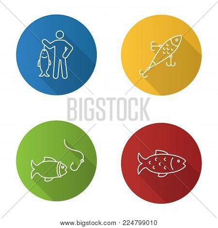 Fishing flat linear long shadow icons set. Fisherman, lure, fish and hook. Vector outline illustration