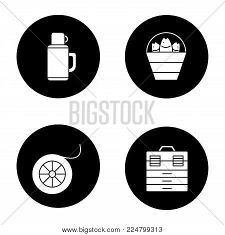Fishing glyph icons set. Bucket with catch, thermos, fishing line spool, tackle box. Vector white silhouettes illustrations in black circles