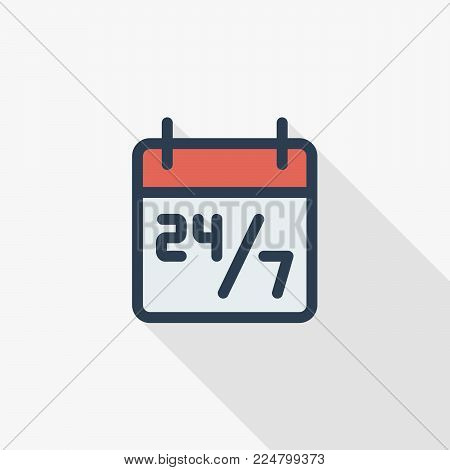 24 7 hours service, schedule on calendar thin line flat color icon. Linear vector illustration. Pictogram isolated on white background. Colorful long shadow design.
