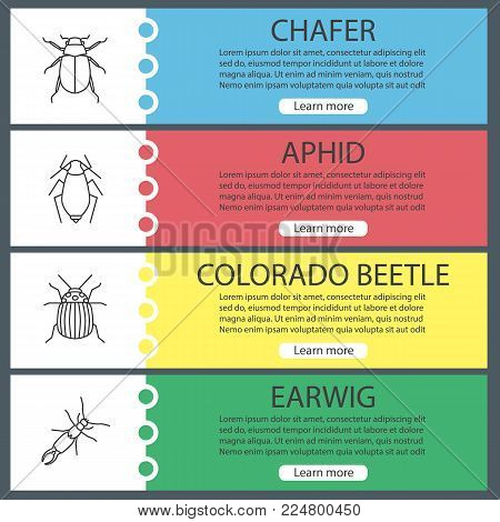 Insects web banner templates set. Chafer, aphid, colorado beetle, earwig. Website menu items. Vector headers design concepts