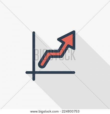 growth graph chart, market success, stock bar up thin line flat icon. Linear vector illustration. Pictogram isolated on white background. Colorful long shadow design.