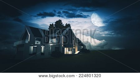 House Concept 3D at Night. Large Moon and the Cloudy Sky. Modern Contemporary Single Family House Model.