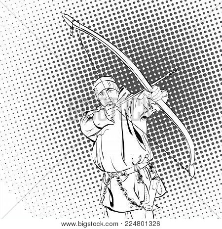 Eskimos with bow. Inuit, Chukchi man character in traditional costume standing with bow, northern people, life in the far north. Vector Illustration