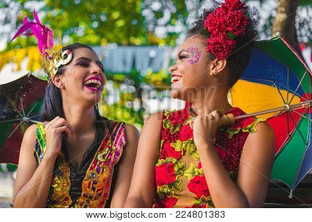 Brazilian Carnival. Women Wearing Carnival Costumes In The City Of Olinda, Pernambuco, Brazil.