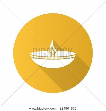 Islamic oil lamp flat design long shadow glyph icon. Diya. Islamic culture. Burning bowl oil lamp. Vector silhouette illustration