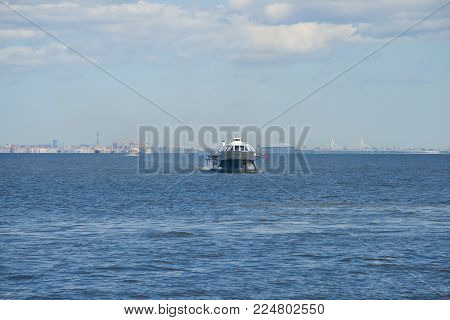 SAINT PETERSBURG, RUSSIA - MAY 30, 2017: Meteor - the hydrofoil boat goes through the Gulf of Finland on a sunny May day