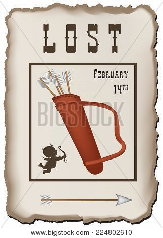 Vintage poster by February 14. Lost Quiver with Cupid's Arrows