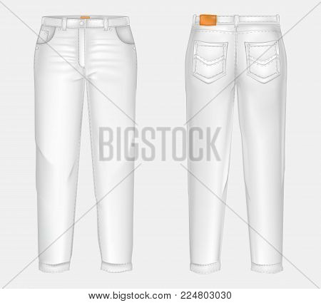 Vector realistic white casual jeans, unisex model, straight and baggy, front and back view, isolated on gray background. Comfortable, denim pants, ironed and clean. Mockup for clothing design