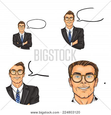 Vector set of male round avatars for users of social networks, blogs, profile icons in pop art style. Confident, successful businessman in glasses and suit stands with crossed arms and speech bubble