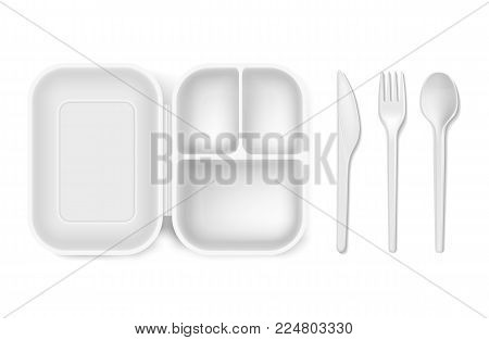 Disposable plastic spoon, fork or knife and lunch-box vector illustration. Realistic white 3D plastic lunch box and cutlery or picnic and party tableware isolated icons set on white background