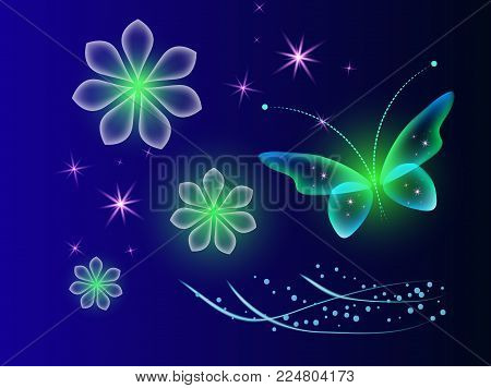 Glowing background with magic butterflies and light flowers.Transparent butterflies and glowing blooms. Blue background with shiny flower and  with butterfly.