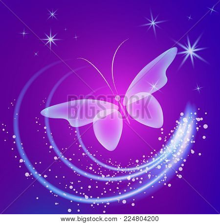 Glowing background with magic  butterflies and sparkling stars.Transparent butterfly and glowing stars. Glowing image on dark  purple background.