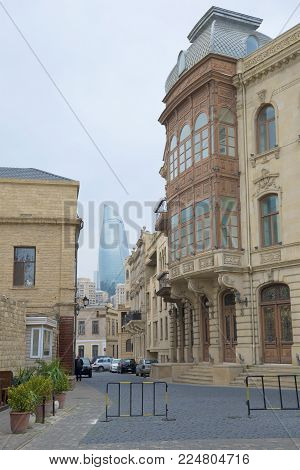 BAKU, AZERBAIJAN - DECEMBER 29, 2017: A cloudy December day in the old city