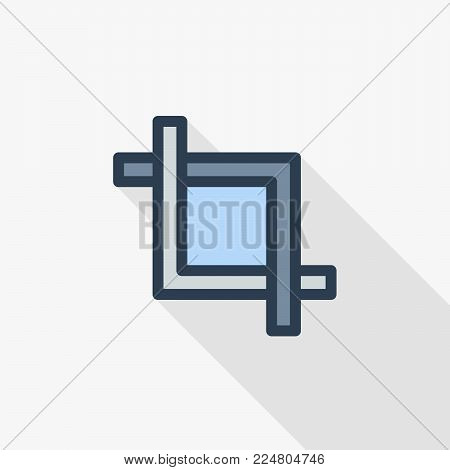 frame cut, clip, photo or video editing thin line flat color icon. Linear vector illustration. Pictogram isolated on white background. Colorful long shadow design.