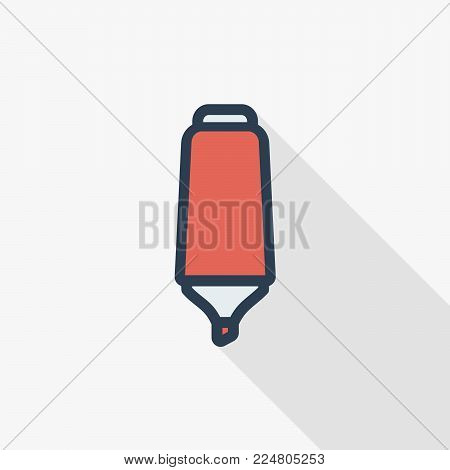 marker pen icon thin line flat color icon. Linear vector illustration. Pictogram isolated on white background. Colorful long shadow design.