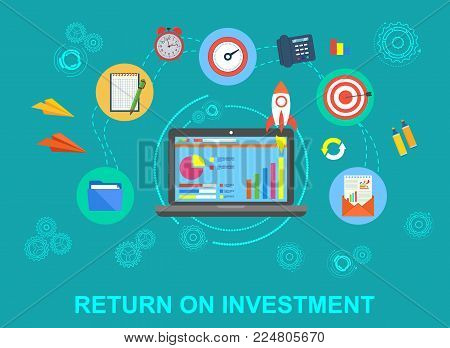Business. Return on investment. Fast return on investment. Success in business. Profit. Icons in flat style.