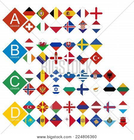 European football tournament all competitors Flag sorted by League. 55 European national teams flag. poster