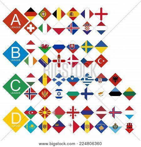 European football tournament all competitors Flag sorted by League. 55 European national teams flag.