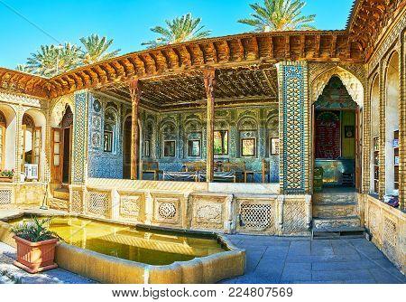 Shiraz, Iran - October 12, 2017: Panorama Of The Mirror Veranda Of Zinat Ol-molk Mansion With The Ol