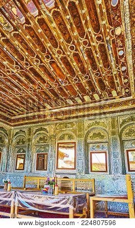 Shiraz, Iran - October 12, 2017: Interior Of Mirror Veranda Of Zinat Ol-molk Mansion With Rich Decor