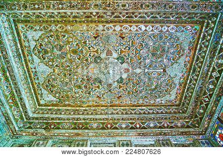 Shiraz, Iran - October 12, 2017: The Ceiling Of Mirror Hall Of Zinat Ol-molk Mansion With Complex Mi