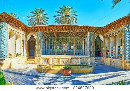 Shiraz, Iran - October 12, 2017: The Complex Of Zinat Ol-molk Is Fine Example Of Qajar Era Architect