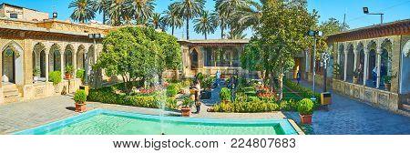 Shiraz, Iran - October 12, 2017: Panorama Of Garden Of Zinat Ol-molk Mansion With Citrus Trees, Flow