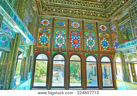 Shiraz, Iran - October 12, 2017: The Stained-glass Windows In Mirror Hall Of Zinat Ol-molk Mansion,
