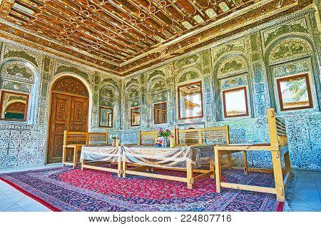 Shiraz, Iran - October 12, 2017: The Summer Terrace Of Zinat Ol-molk Mansion Boasts Masterpiece Mirr