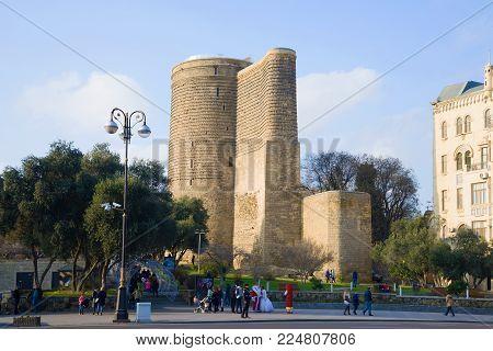 BAKU, AZERBAIJAN - JANUARY 04, 2018: Maiden Tower on a sunny January day