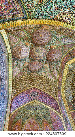 Shiraz, Iran - October 12, 2017: The  Vault Of Summer Prayer Hall Of Nasir Ol-molk Mosque, Rich Tile