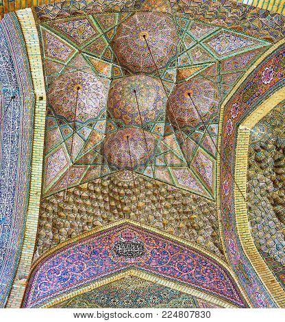 Shiraz, Iran - October 12, 2017: The   Vault Of Summer Prayer Hall Of The Pink Mosque (nasir Ol-molk