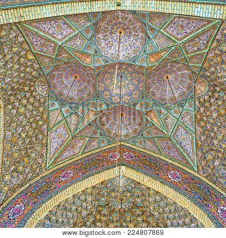 Shiraz, Iran - October 12, 2017: The Tiled Dome Of The Open Air Summer Hall Of Nasir Ol-molk Mosque
