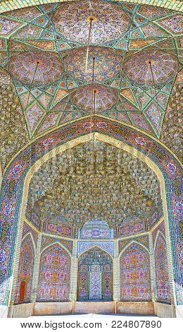Shiraz, Iran - October 12, 2017: The Complex Tiled Patterns Of Summer Mosque Of Nasir Ol-molk Comple