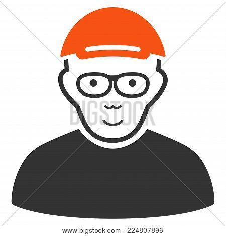 Geek vector flat pictogram. Human face has enjoy sentiment. A boy in a cap.