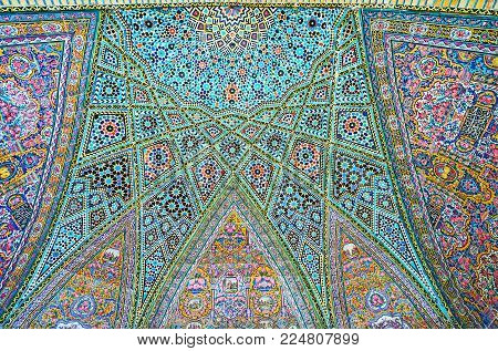 Shiraz, Iran - October 12, 2017: The Tiled Ornaments Of The Semi-dome In Nasir Ol-molk Mosque Includ
