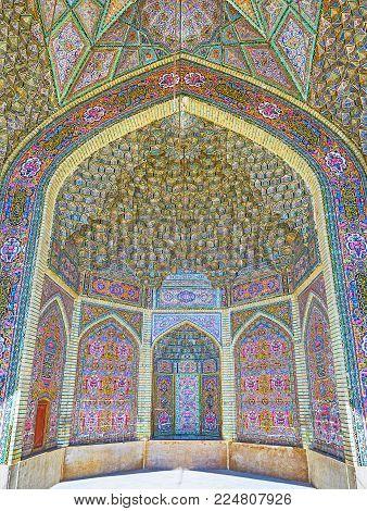 Shiraz, Iran - October 12, 2017: The Masterpiece Interior Of Summer Hall Of Nasir Ol-molk Mosque Wit